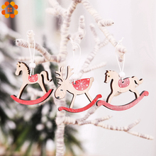 3PCS/Set Christmas Trojan Horse Wooden Crafts Cute DIY Wood Xmas Tree Ornaments Kid Gift For Party Supplies Decoration