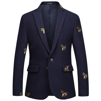 Loldeal Men's Suit Casual Men's Jacket Blazer Young Printed Jacket Business casual single piece two buckle small suit woolen mud