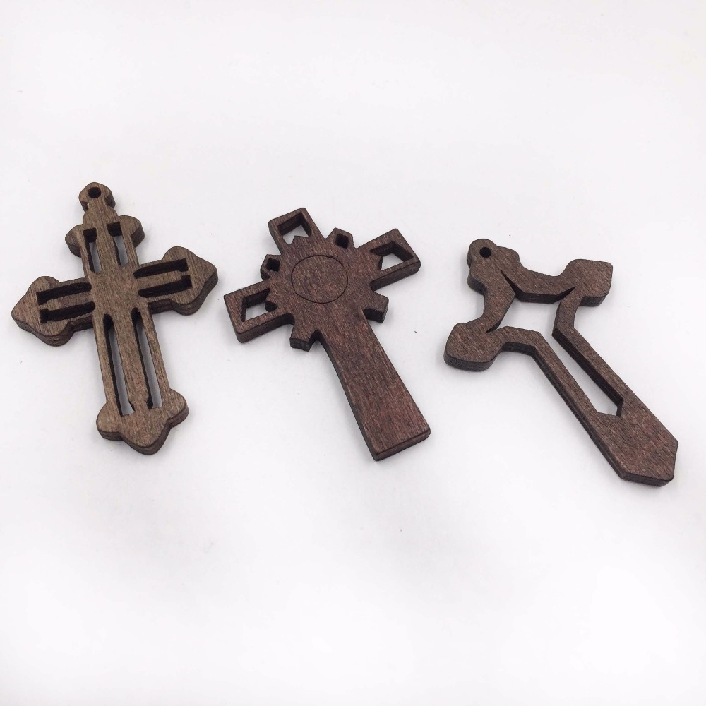 Pendant Necklace Diy-Accessories Cross-Charm Wooden Jesus 45x32mm 30pcs Unfinished-Designs