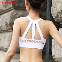 CrazyFit Mesh Hollow Out Yoga Bra Women 2018 New For Sport Running Yoga Fitness Athletic Gym Push Up Padded Underwear Tank Top