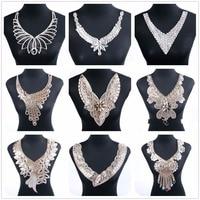 1 Pcs/Lot Necklace Collar Patches Rhinestone Crystal Patch Motif For Women Bride Wedding Applique Dress Clothes Sticker Garment