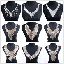 1 Pcs/Lot Necklace Collar Patches Rhinestone Crystal Patch Motif For Women Bride Wedding Applique Dress Clothes Sticker Garment