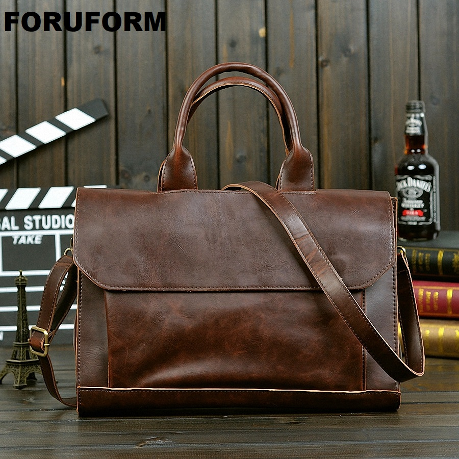 2019 New Arrival Men's Messenger Bags Leather Shoulder Messenger Business Computer Briefcase 13 Inch Laptop Bag-JW003