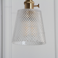Nordic vintage taper diamond glass pendant light dinning room home hotel restaurant loft Japan light copper part suspension lamp