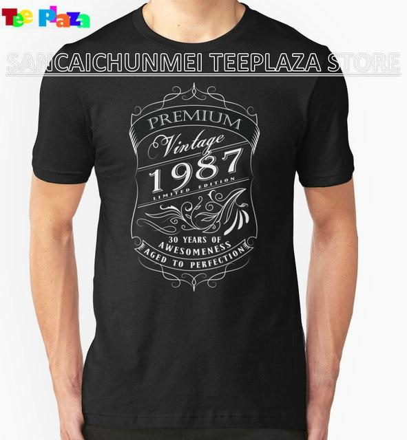 Teeplaza New Design T Shirt Print 30Th Birthday Gift Vintage Limited Born 1987 Edition Short Men Crew Neck Summer Tee