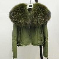 מרינו אמיתי אופנה החורף חמה מעיל פרווה כבשים אמיתי נשים עור כבש טבעי מעיל מעיל צווארון דביבון פרווה אמיתי גדול