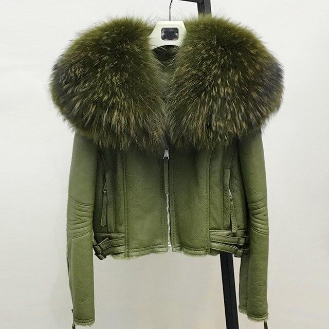 Women Real Sheep Fur Coat Winter Warm Fashion Genuine Merino ...