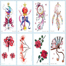 Rocooart Flowers Taty Dreamcatcher Tatouage Red Rose Fake Tattoo Magic Wand Waterproof Temporary Tattoo Stickers For Women Hand(China)