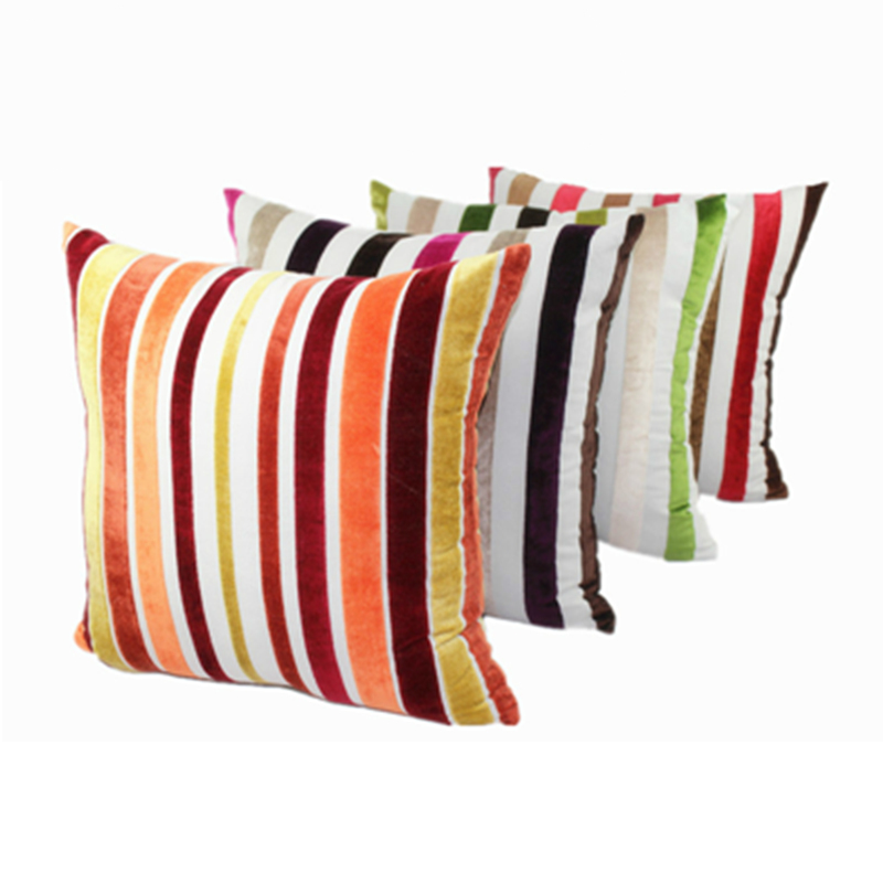 Single/Two Sided Fashion Stripe Cotton Viscose Velvet Suede Colored Cushion Home Decor Decorative Throw Pillow For Sofa Bed
