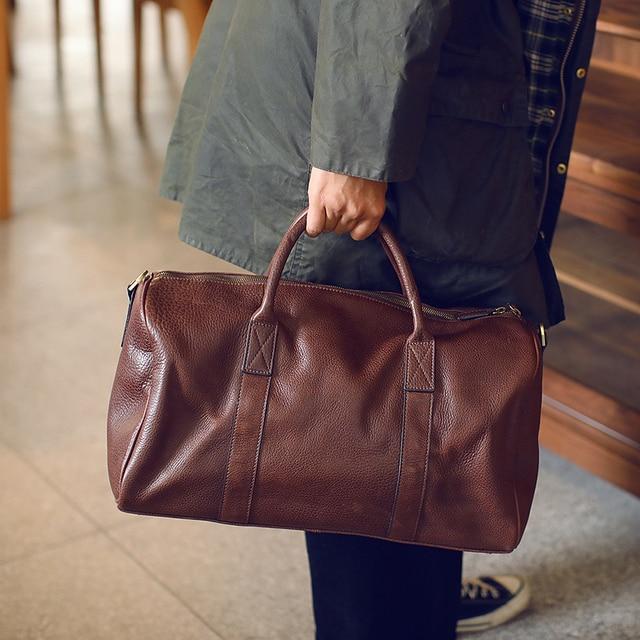 LANSPACE men's leathe travel bag fashion leather luggage fashion large size handbag 1