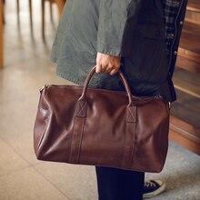 LANSPACE mens leathe travel bag fashion leather luggage fashion large size handbag