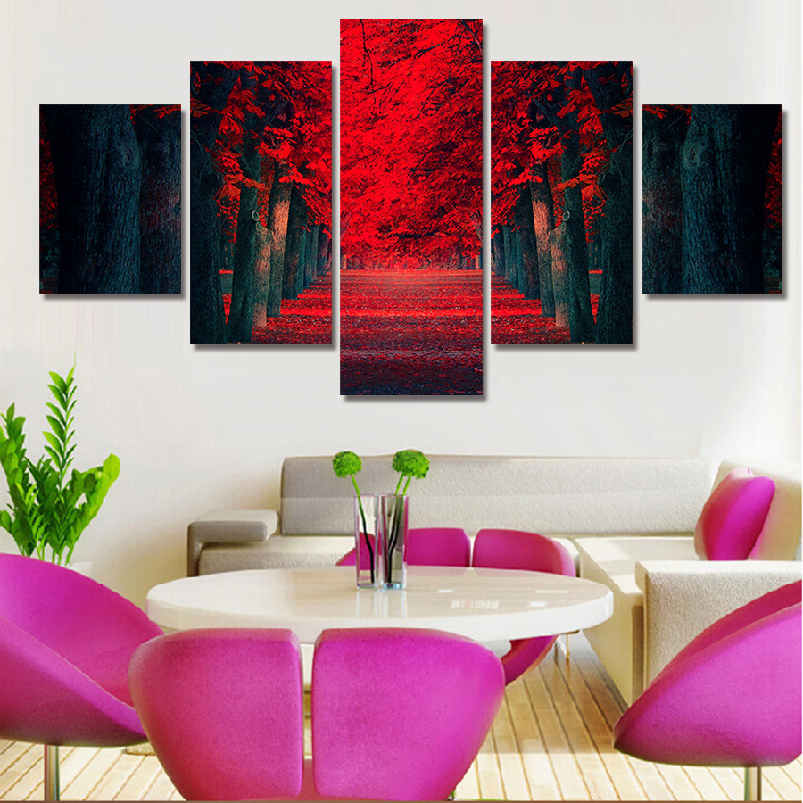 5 Piece Modern Large Painting Abstract Beautiful Red Woods Cuadros  Landscape Canvas Wall Art Home Decor
