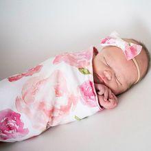 Photography Prop Baby Blankets Sleeping Swaddle Muslin Wrap Headband 2PCS