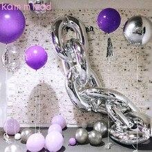 KAMMIZAD 8pcs Disco Dance party balloons pink blue sliver gold red black chain link balloon hipop dance floor
