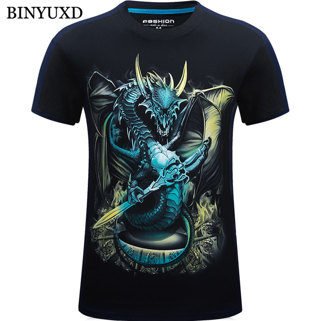 Aliexpress.com : Buy BINYUXD Cotton T Shirts Mans 3D Print Dragon ...