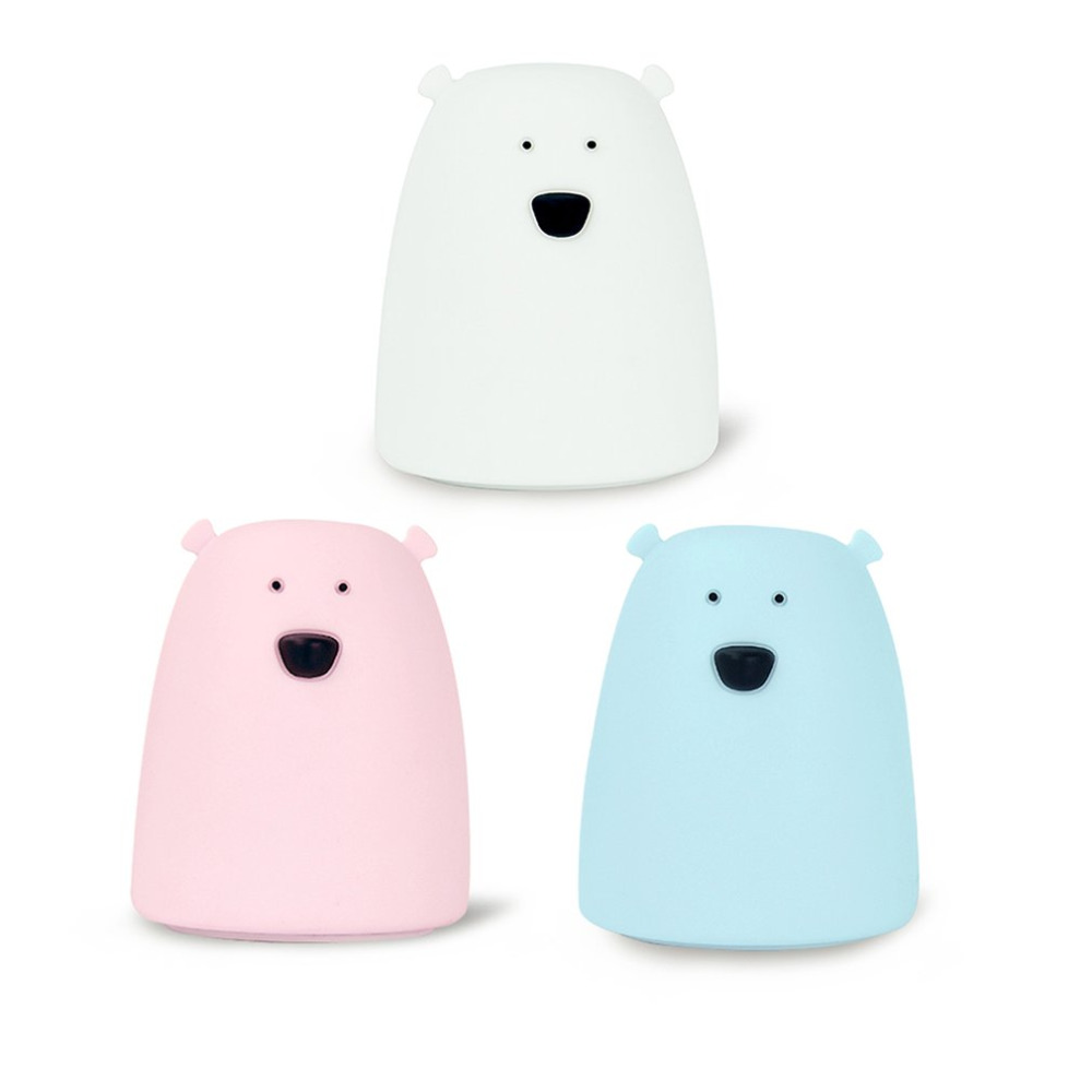 Battery Powered Silicone Bear Shape Night Light Clever Animal Night Lamp Seven Colors Soft Light Table Desk Lamp Bedroom Decor silicone bear