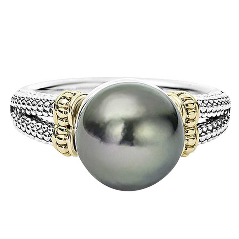 Hot Ring With Gray Imitation Pearl And Cubic Zircon Women Jewelry Dropshipping Anel Anillos Aneis Femme Banquet Jewelry Gift
