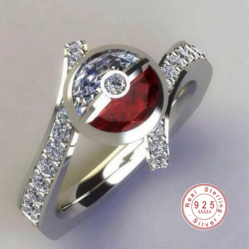 2019 New Fashion 925 Sterling Silver Creative Pokemon Poke Ball Ring for Men Women Party Engagement AAA CZ Zircon Rings Jewelry