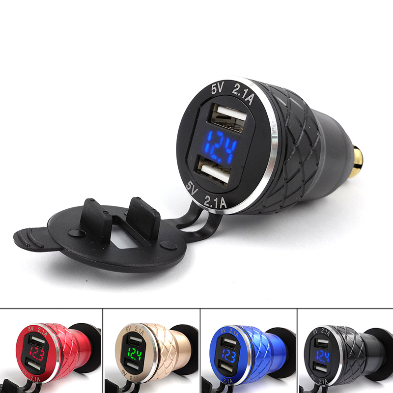 все цены на Aluminum Alloy Metal Shell CNC Motorcycle Dual USB Charger DIN Socket 4.2A Voltmeter for BMW Motorcycle 12-24V Red Blue Green онлайн