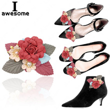 цена на New DIY Red Flower Bridal Wedding Party Shoes Pearl Accessories For High Heels Shoes Boots Flats Pumps Shoe Decorations Flowers