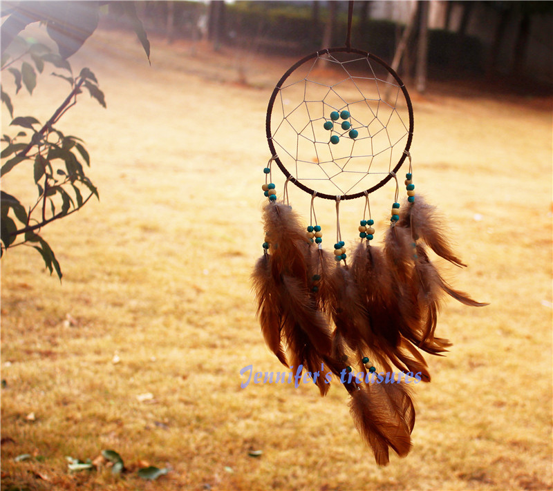 2015 New fashion originality big Hot Brown Dreamcatcher Wind Chimes Indian Style Skull  Feather Pendant dream Catcher Gift