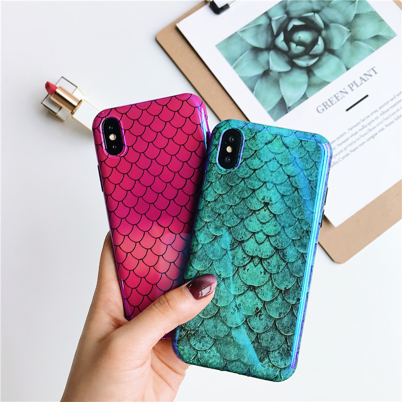 Glossy Blue Light Phone Case For iPhone 8 Case For iPhone 6 6S Plus Case Coque Anti-knock Cover For iPhone 7 Plus iPhone X Capa