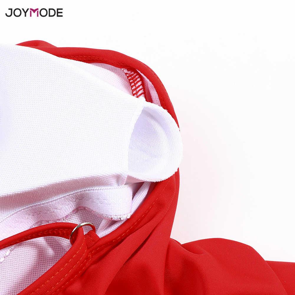 ملابس سباحة نسائية من JOYMODE ملابس سباحة نسائية مكونة من ثلاث طبقات باللون الأحمر تنتفض من قطعة واحدة مبطنة بحمالة برازيلية 2019