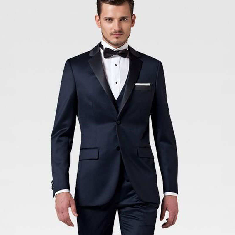 Italian Navy Blue Men Wedding Suits Men Blazers Groom Tuxedos 3Piece Coat Pants Vest Costume Homme Mariage Terno Masculino