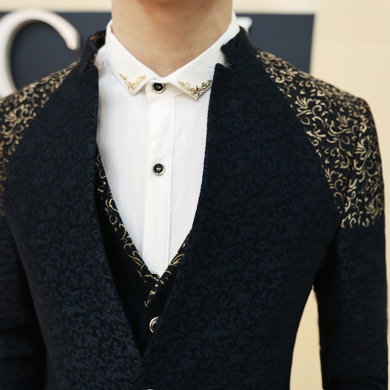 New Arrival 2015 Summer Mandarin Collar Blazer Black Men Gold ...
