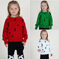 Ins the new sweater knit  of triangle Christmas tree head boy girl children's clothes