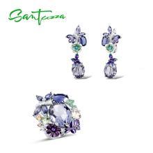 SANTUZZA Серебряный набор украшений для женщин 925 пробы Серебряная бабочка фиолетовые камни Кольцо Серьги модные ювелирные изделия ручной работы эмаль