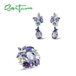 Santuzza Zilveren Sieraden Set Voor Vrouwen 925 Sterling Zilveren Vlinder Paars Stenen Ring Oorbellen Mode-sieraden Handgemaakte Emaille
