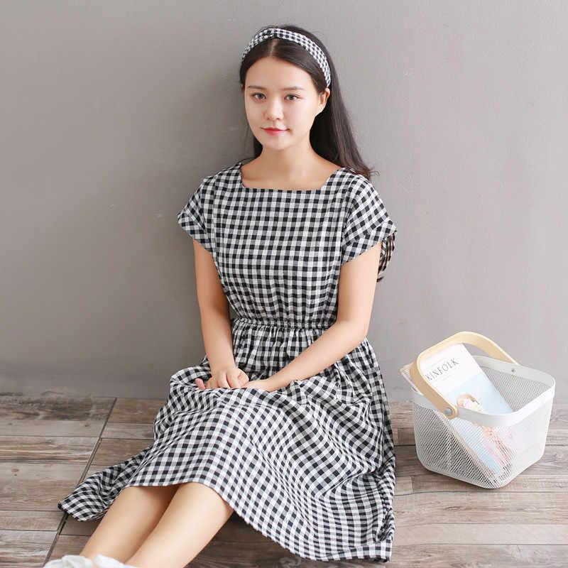 2019 винтажное летнее женское ТРАПЕЦИЕВИДНОЕ Повседневное платье в черно-белую клетку, хлопковое женское платье с коротким рукавом, элегантное милое платье «Мори» для девушек