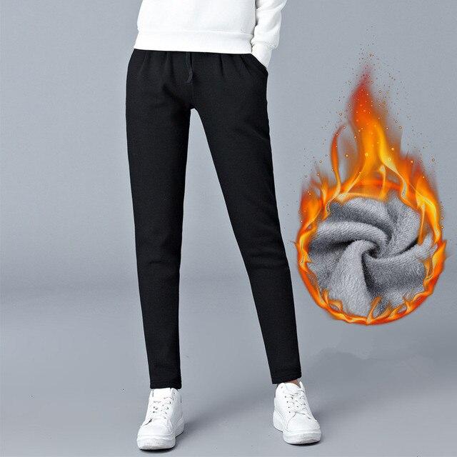 Grande taille lâche chaud Harem pantalon femmes automne hiver graisse femme velours épais pantalon décontracté pantalon de sport M 6XL