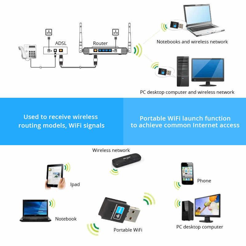 USB אלחוטי wifi מתאם 300Mbps רשת כרטיס 802.11N Wi-fi אנטנת משדר חיצוני מיני USB נתב מקלט RTL8192