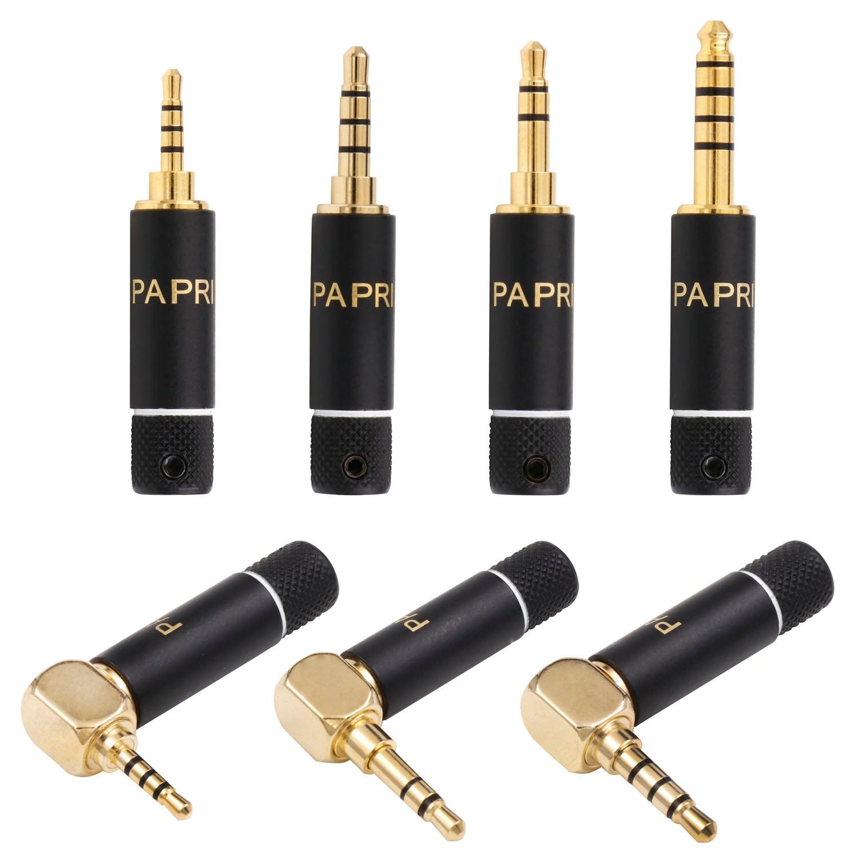 PAPRI DIY 2.5MM/3.5MM/4.4MM Plugs HiFi Repair Headphone Jack Audio HiFi Pure Brass Gold Plated Connector Plug For Earphone