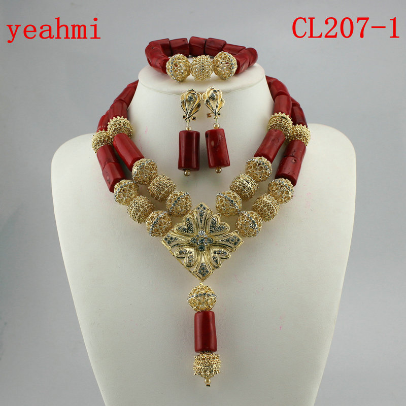 2018 Fashionable African Wedding Jewelry Set Coral Beads Jewelry Set Nigerian Beads Necklace Jewelry Set Free Shipping CL207-1
