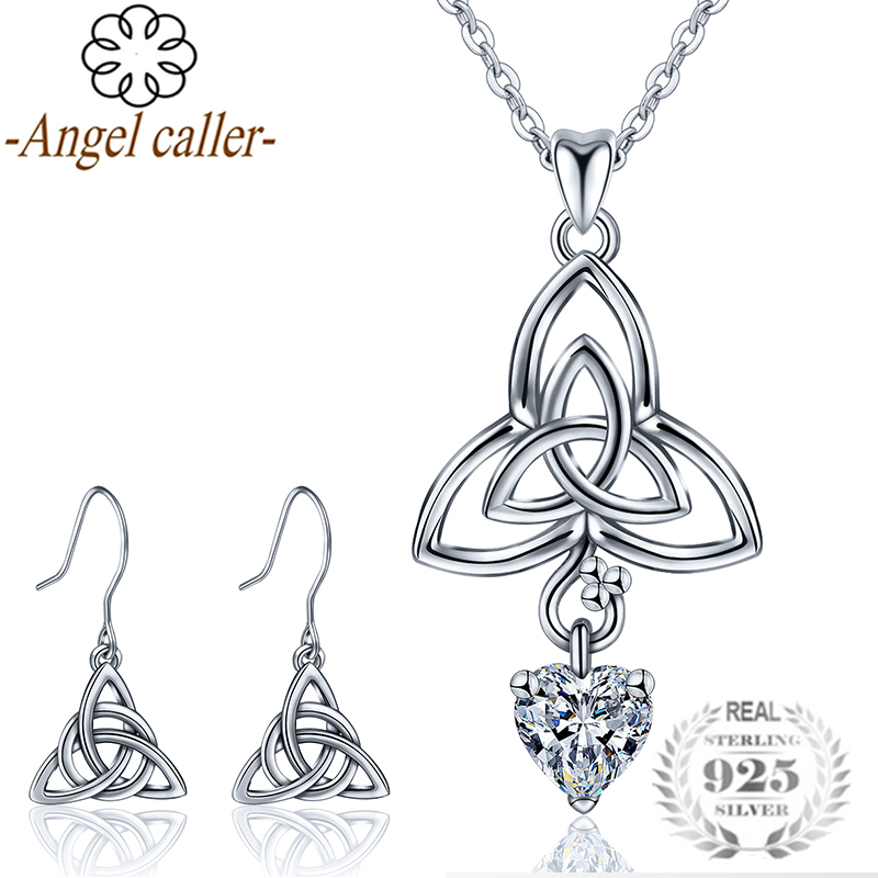 Angel Caller 925 Sterling Silver Celtics Trinity Knot Jewelry Sets Necklace Dangle  Earrings Crystal CZ Pendants Fine for Women Angel Caller 925 Sterling Silver Celtics Trinity Knot Jewelry Sets Necklace Dangle  Earrings Crystal CZ Pendants Fine for Women