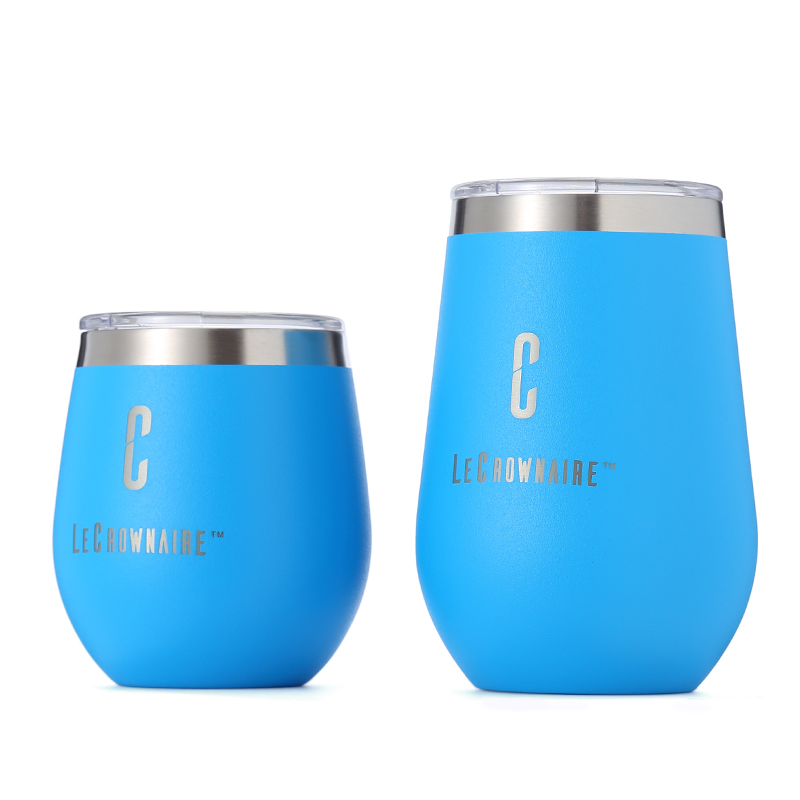 LC 8oz/12oz stemless stainless steel wine tumbler vacuum insulated glass egg shaped mug