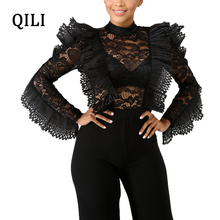 QILI Elegant Ruffles Lace Jumpsuits Sexy See Through Long Sleeve Zipper Wide Leg Jumpsuit Night Club Wear Women Fashion
