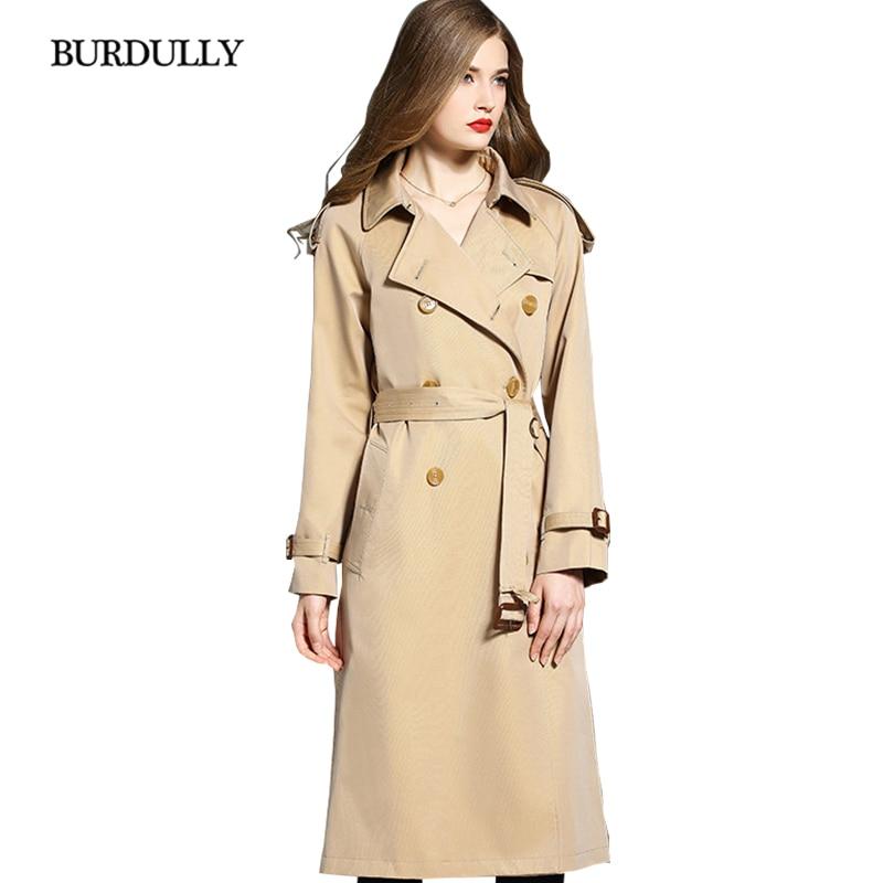 Burdully Nouvelle Boutonnage Angleterre Style vent down Double Coupe Mode Turn Femmes Automne Gamme Long Manteau 2019 De Haut Khaki Mince Hiver qr7Uxrw