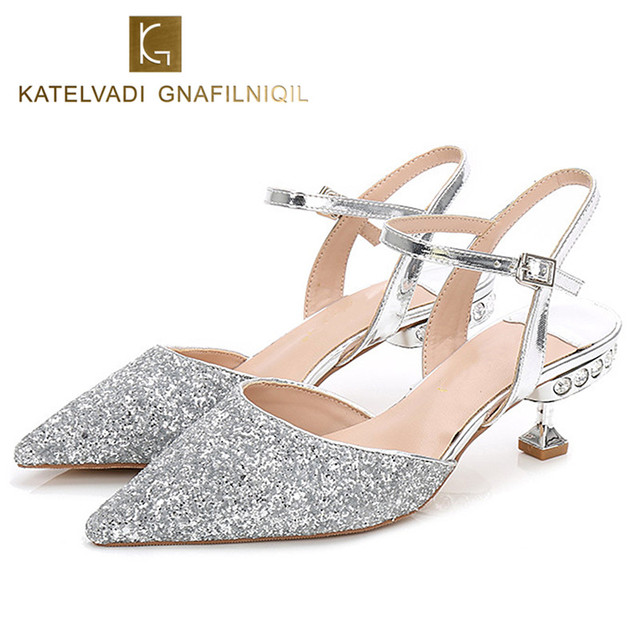 3bea065a5280 Summer Wedding Shoes Woman Slingbacks 5.5CM Lower Heels Glitter Silver  Diamond Shoes Women Pumps Fashion Party Shoes K-140