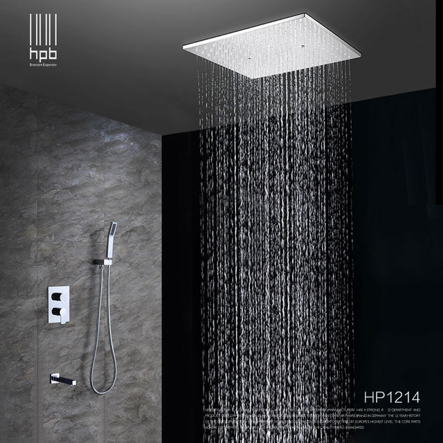 Hpb Br Bathroom Hot And Cold Water Mixer Ceiling Mounted Shower Head Bath Rain Set