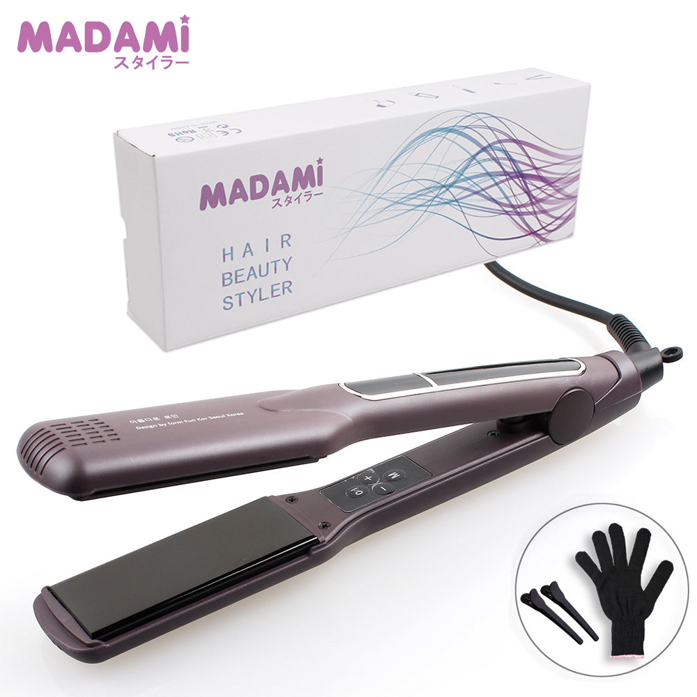 Korean Hair Flat Iron Wide Plate Ceramic Hair Straightener 1 1 2 inch Dual Voltage Bivolt