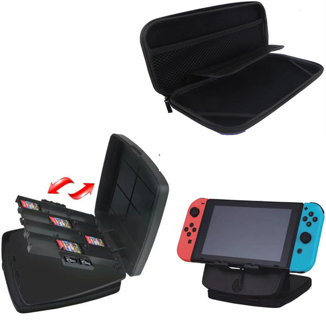 2 In 1 Switch Stand Holder With Cartridge Sd Cards Storage Case Travel