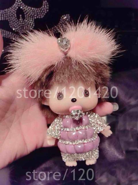 Monchhichi Doll llavero de piel de visón arco cadenas dominantes del coche Rhinestone rosado lindo Monchichi sleutelhanger charms bolsa mono bolsa bug