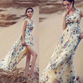 2016 New Brand Female Women Summer Print Long Dress Draped Ankle Length V Neck Bandage Sleevelss Beach Party Bodycon Tunic Dress