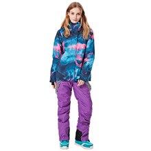 Женский лыжный костюм водонепроницаемый Зимний Открытый ветрозащитный куртки для кемпинга Лыжный Сноуборд набор пальто брюки горный снег одежда