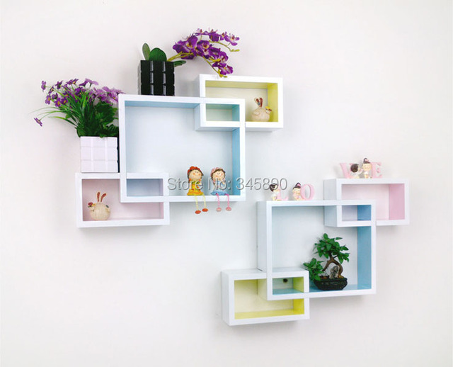 Free Shipping 6pcs Wall Shelf Mdf Floating Hanging On As Beautiful Home Furniture New Arrival