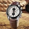 MEGIR esportes de couro de moda relógio de quartzo para o homem militar chronograph relógios de pulso homens do exército estilo 2020 frete grátis Mens Presente